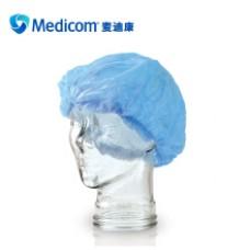 Medicom麦迪康一次性医用条型帽手术帽医用SMS无纺布防水抗拉扯透气性好100只/袋 蓝色条帽(8000-B)
